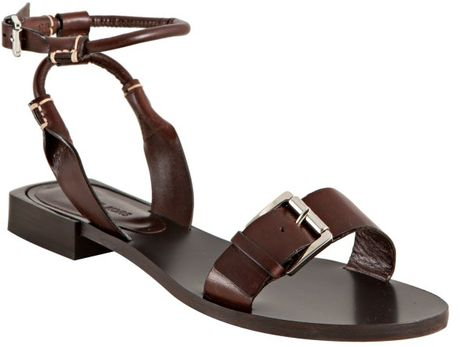 Michael Kors Brown Leather Buckle Detail Flat Sandals in Brown - Lyst