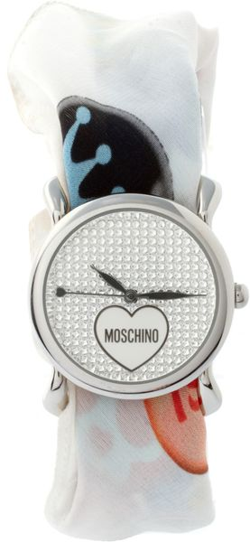 Moschino Watch With Dual Leather And Silk Straps - Lyst