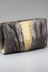 Nancy Gonzalez Pleated Python Clutch - Lyst