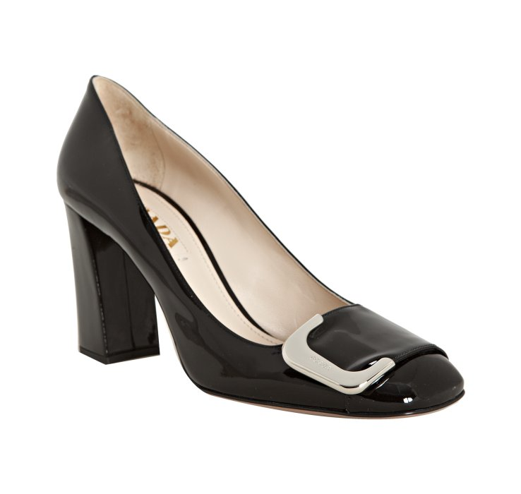 Prada Black Patent Leather Buckle Detail Block Heel Pumps