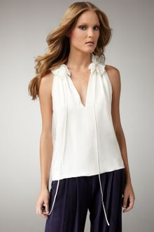 Robert Rodriguez Lace-detail Silk Blouse - Lyst