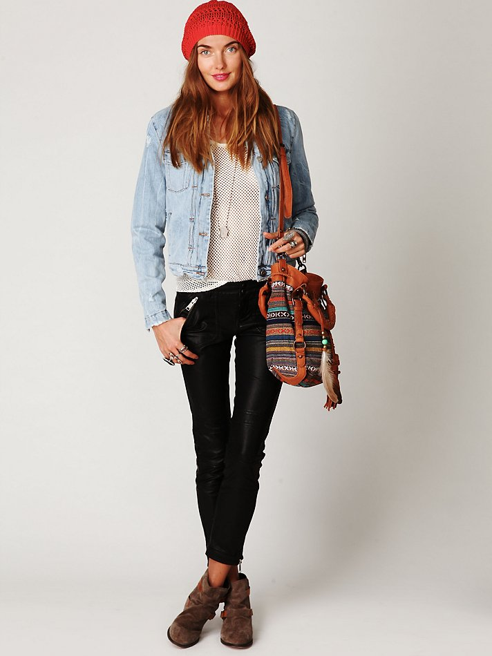Lyst Free People Iro Denim Sherpa Jacket In Blue
