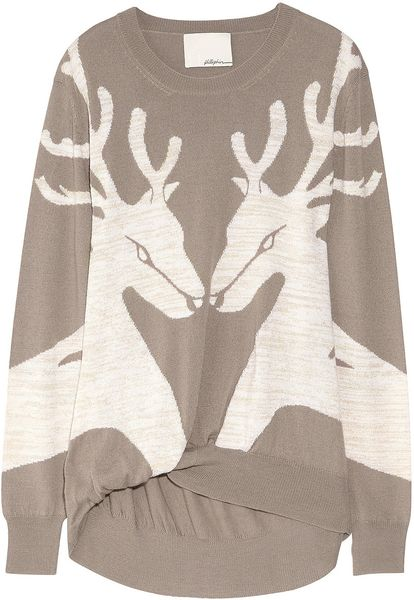 3.1 Phillip Lim Reindeer Merino Wool-blend Sweater in Brown (taupe) - Lyst