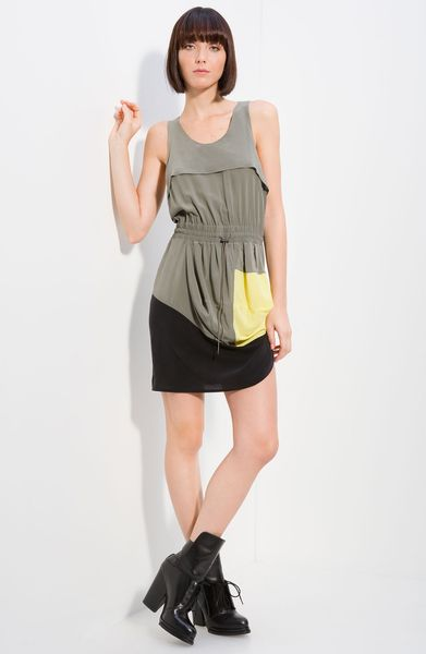 Alexander Wang Silk Tank Dress in Gray (granite) - Lyst