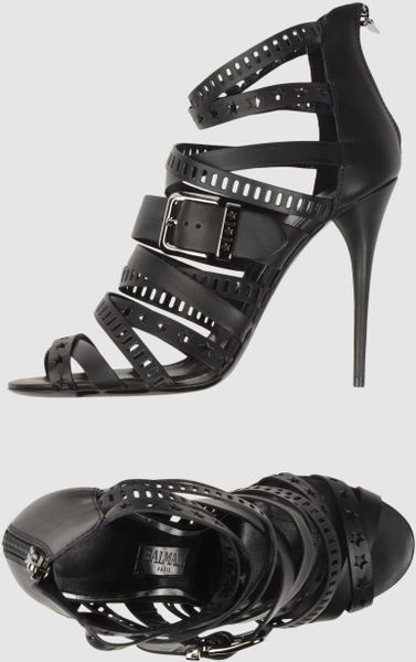 Balmain Highheeled Sandals in Black - Lyst