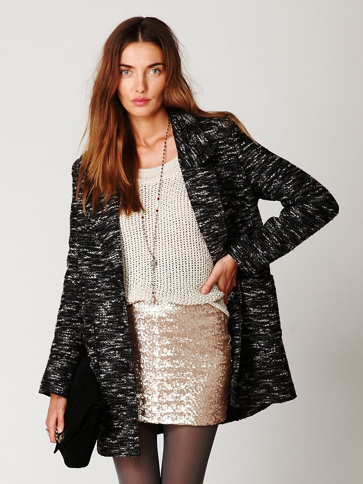 Free people Fever Sequin Bodycon Skirt in Metallic | Lyst