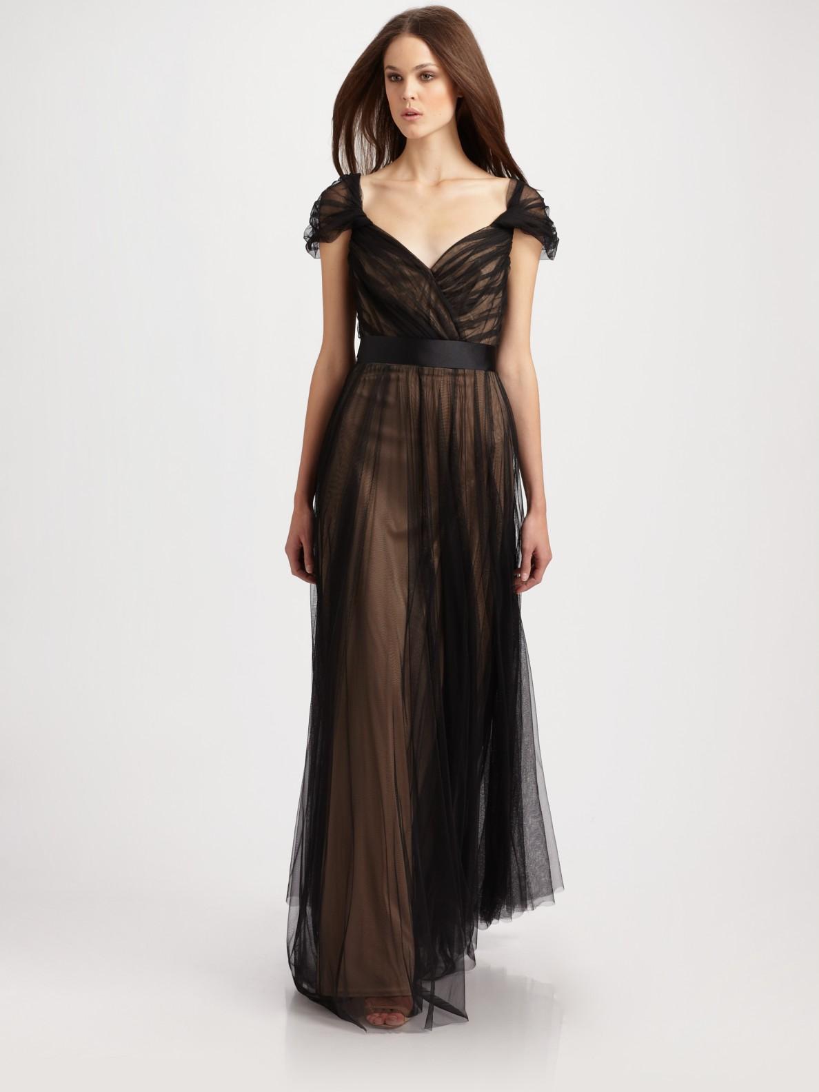 62d536c9b9c Lyst - Tadashi Shoji Tulle Cap Sleeve Gown in Black