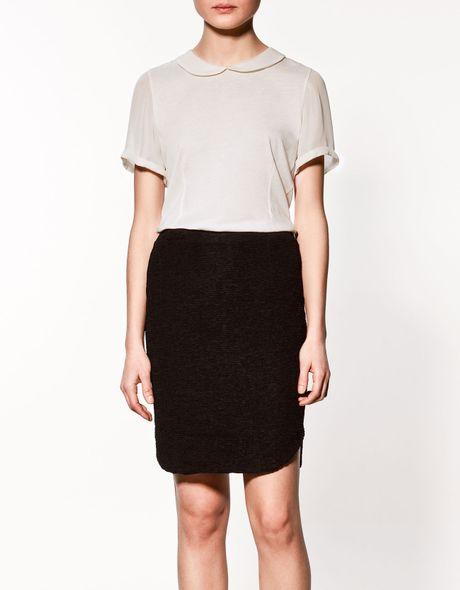 Zara t shirt with peter pan collar in white lyst for White cotton shirt peter pan collar