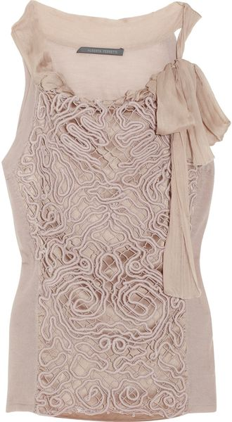 Alberta Ferretti Patterned-overlay Wool Top - Lyst