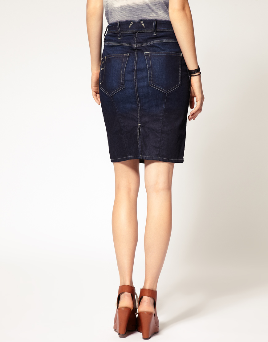 1d24ded20 DIESEL Denim Pencil Skirt in Blue - Lyst