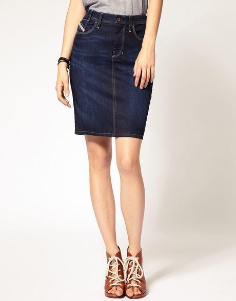 diesel denim pencil skirt in blue lyst