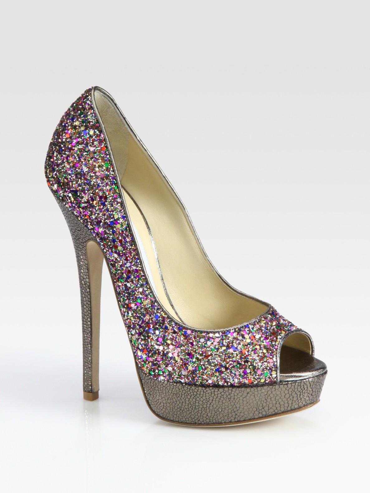 910efeca1a92 Lyst - Jimmy Choo Vibe Glitter-coated Leather Peep Toe Pumps in Purple