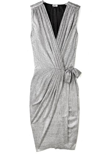 L'Agence Silver Lamé Wrap Ultimate Party Dress - Lyst