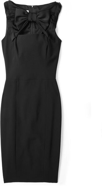 Moschino Cheap & Chic Black Crepe Bow Neck Pencil Dress in Black - Lyst