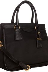 Prada Black Nylon City Calf Leather Trim Medium Convertible Tote - Lyst