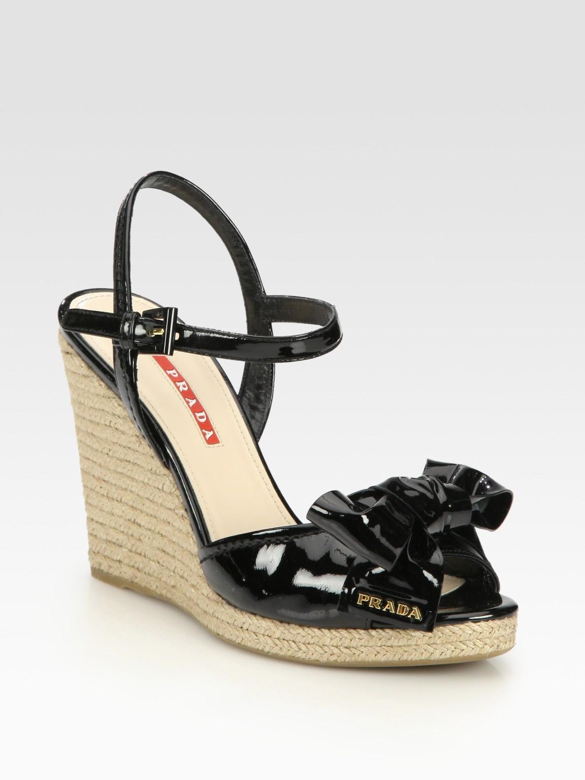 Prada Patent Leather Espadrille Wedge Sandals In Black Lyst