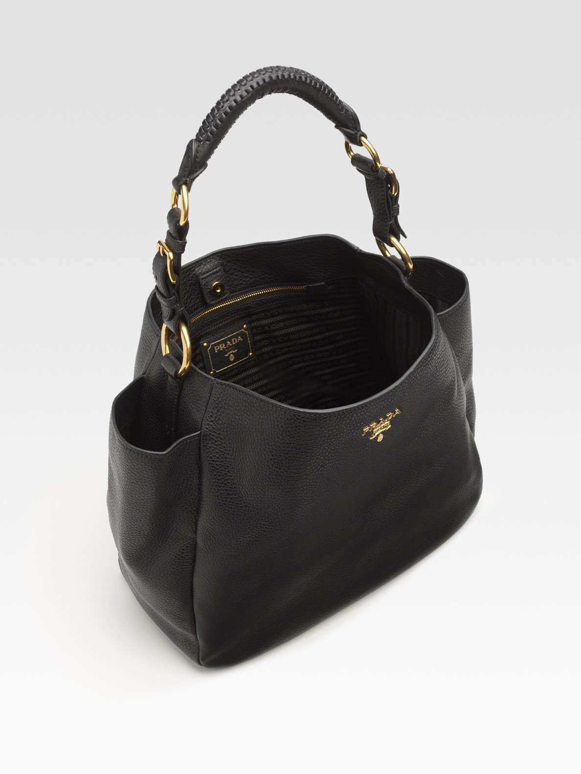 Prada Vitello Daino Hobo Bag in Black | Lyst