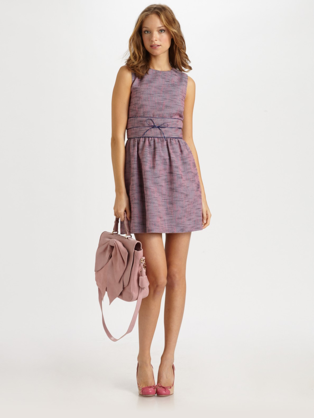 Red Valentino Tweed Dress In Pink Lyst