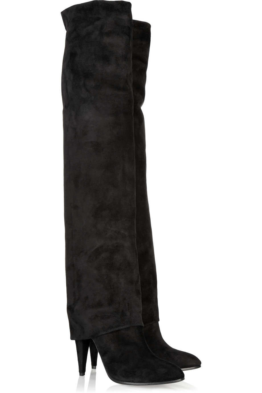 sigerson morrison fold thigh high suede boots in