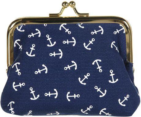 Topshop Navy Anchor Clip Frame Purse In Blue Navy Blue