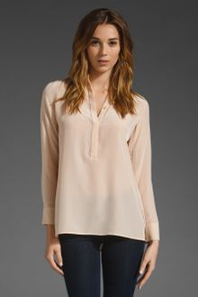 Vince 1/2 Placket Silk Blouse - Lyst