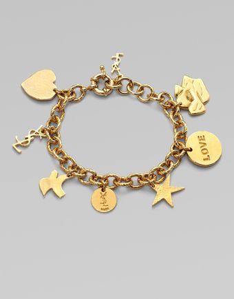 Yves Saint Laurent Ycons Goldplated Charm Bracelet - Lyst