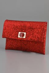 Anya Hindmarch Valorie Glitter Clutch in Red - Lyst