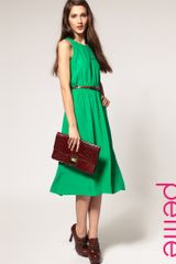Asos Collection Asos Petite Midi Dress in Crepe in Green - Lyst