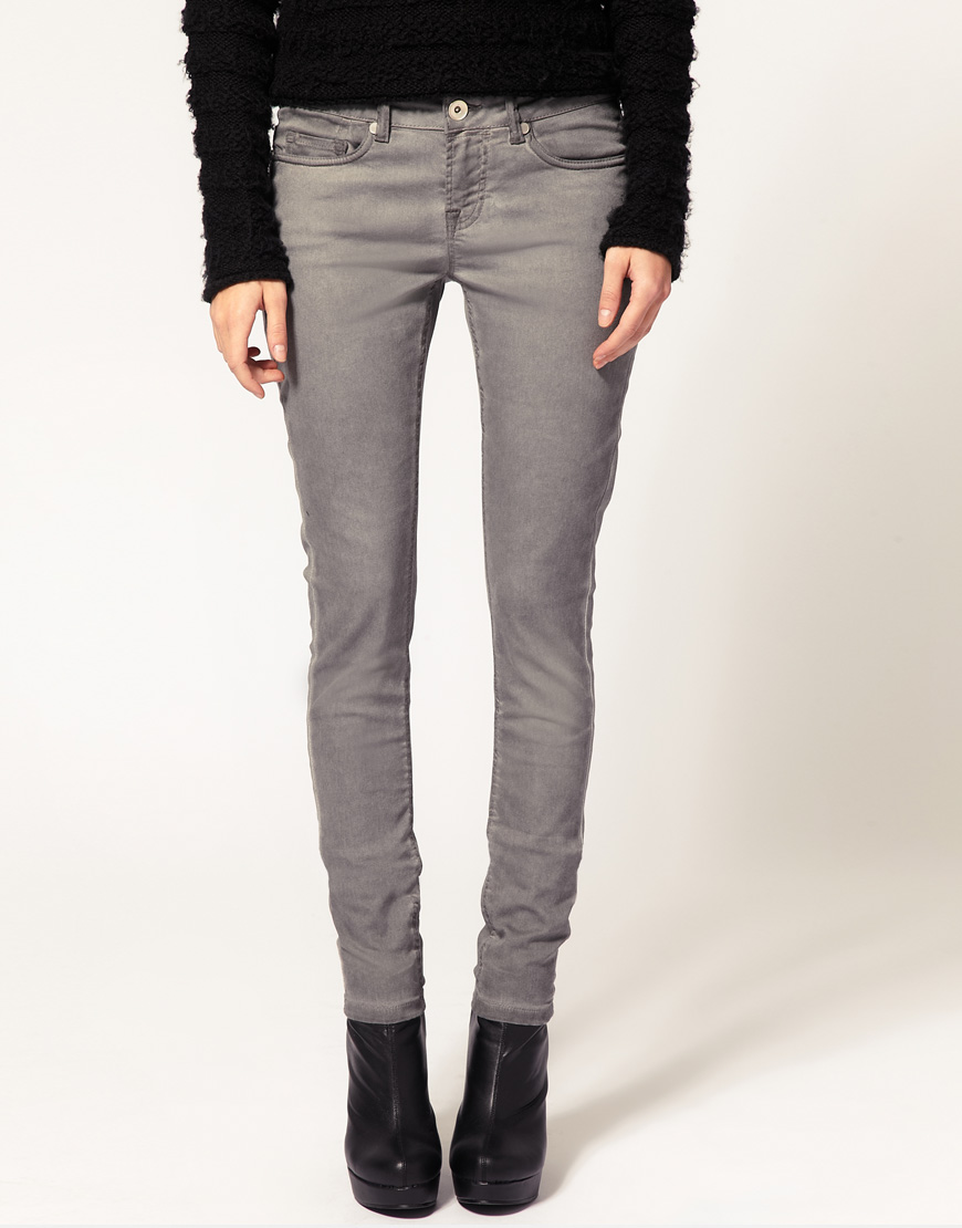 Asos Asos Grey Skinny Jeans with Pigment Wash in Gray | Lyst