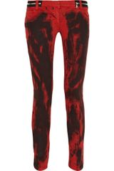 Balmain Ink-stained Low-rise Skinny Jeans - Lyst