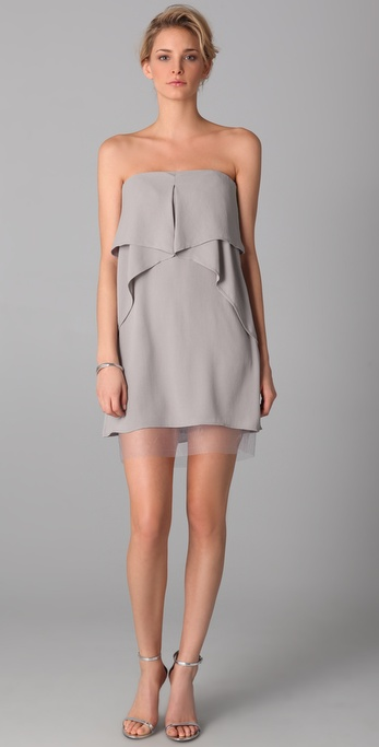 Bcbgmaxazria Fei Fei Strapless Dress in Gray | Lyst