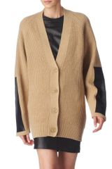 By Malene Birger Leather Patch Cardigan