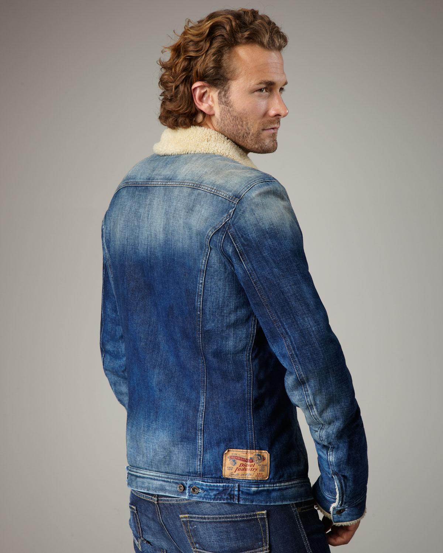 Diesel Faux Fur Lined Denim Jacket In Blue For Men Lyst
