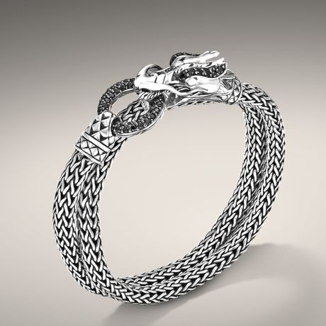 John Hardy Double Wrap Dragon Head Bracelet In Silver