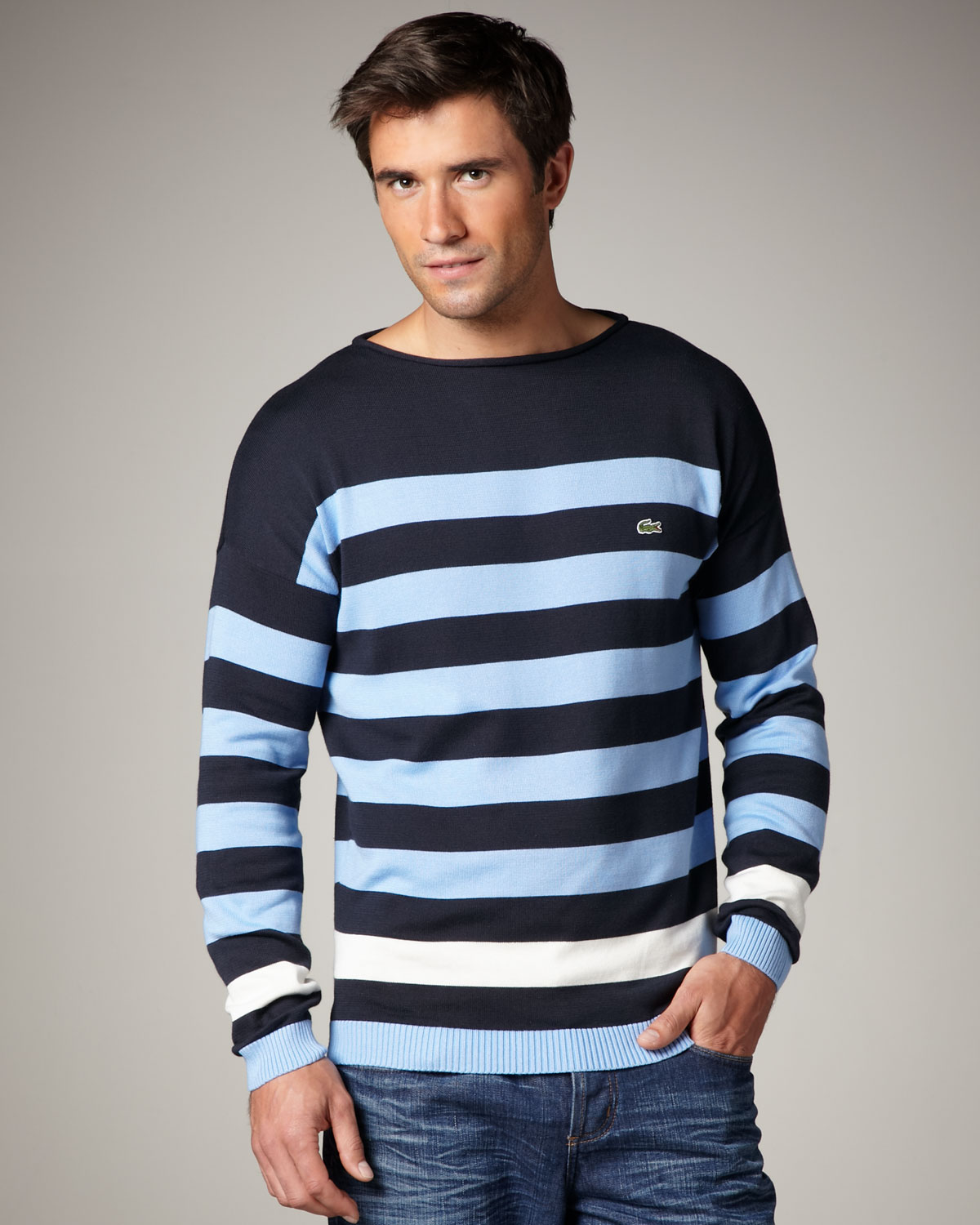 Lacoste Bar-stripe Sweater in Blue for Men | Lyst