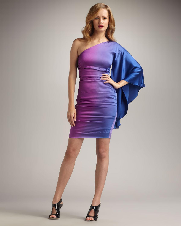 d84e1e08a6e Lyst nicole miller one sleeve ombre cocktail dress in purple jpg 1200x1500 Nicole  miller purple dresses