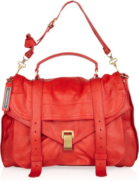 Proenza Schouler Ps1 Extra Large Leather Satchel in Red - Lyst