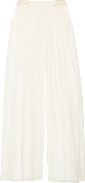 Rag & Bone Satin-trimmed Silk-chiffon Maxi Culottes in Beige (cream) - Lyst