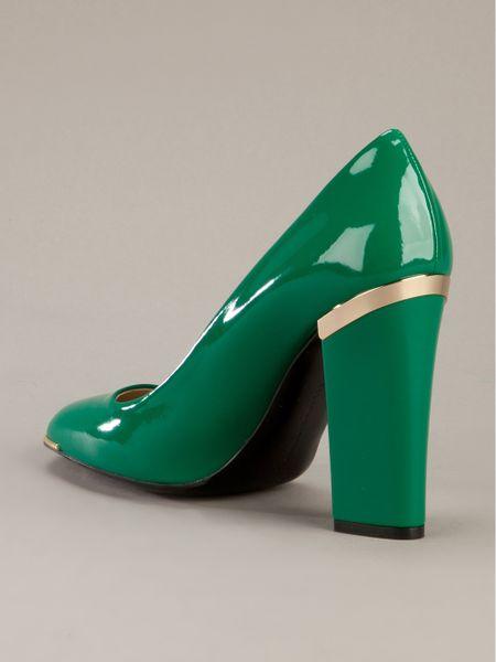 stella mccartney high heel court shoe in green lyst