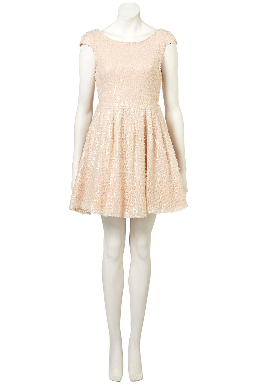 Topshop All Over Sequin Prom Dress By Dress Up in Natural - Lyst