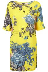 Topshop Lemon Lotus T-shirt Dress - Lyst