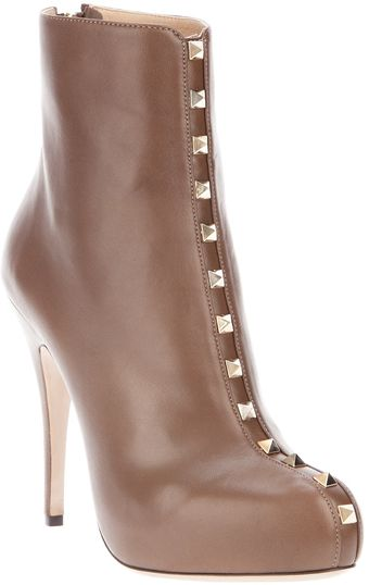 Valentino Leather Ankle Boot - Lyst