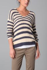 Vince Striped V-neck Sweater - Lyst