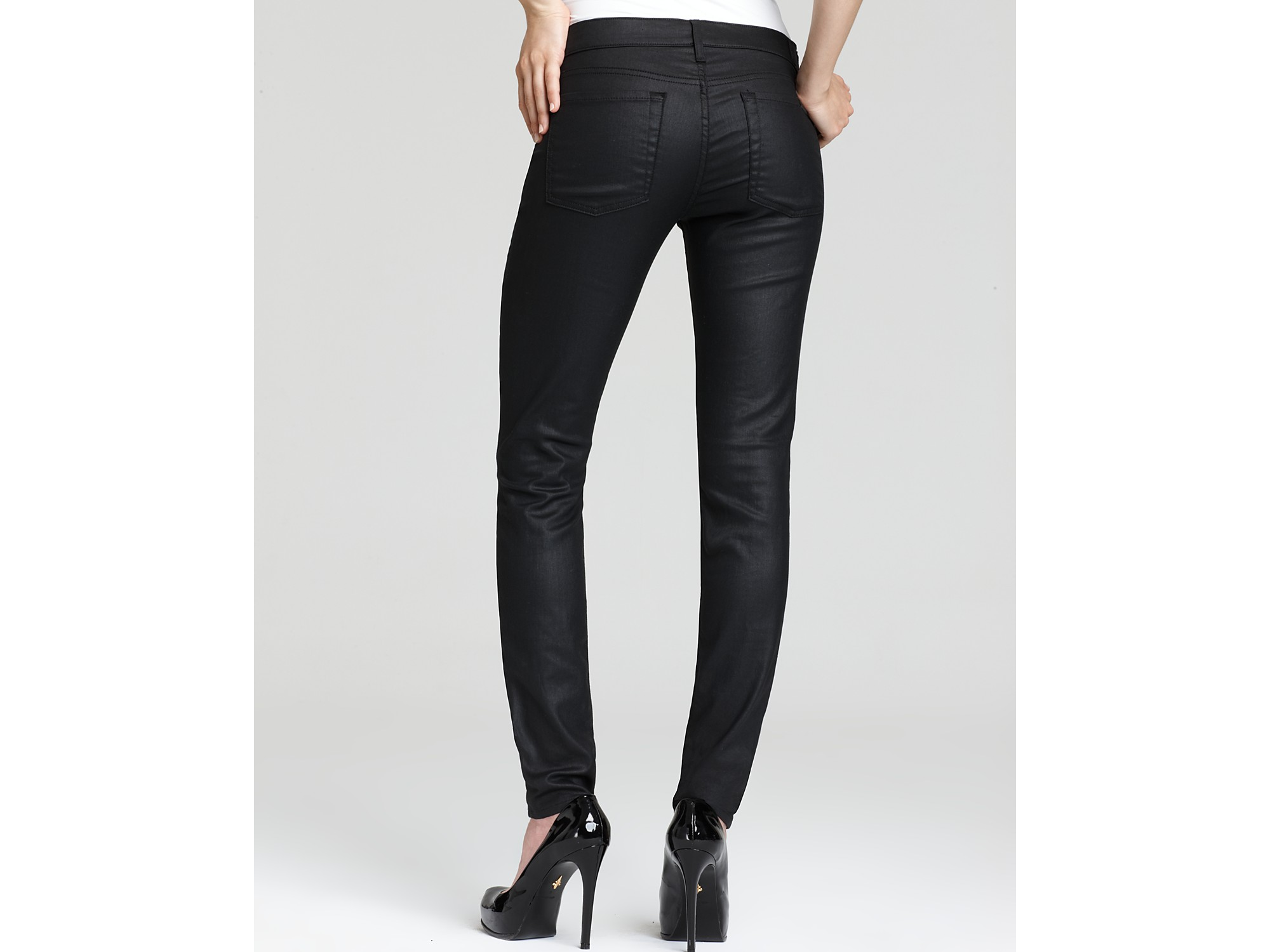 7 for all mankind Coated Featherweight Skinny Jeans in Black | Lyst