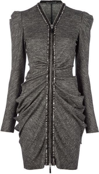 Alexander McQueen Zip Front Dress - Lyst