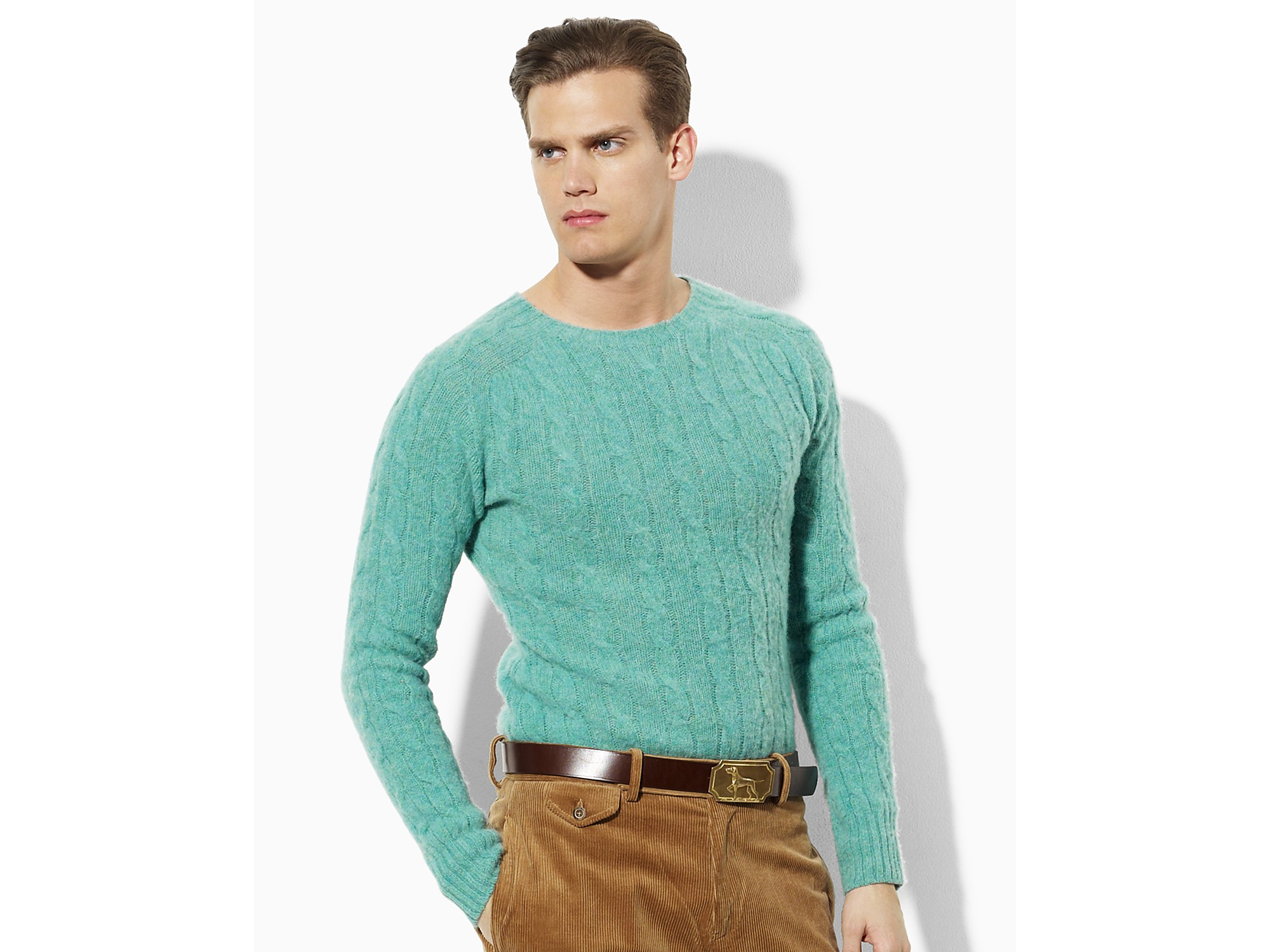 Ash Polo Ralph Lauren Wool-cashmere Cable-knit Sweater in Green ...