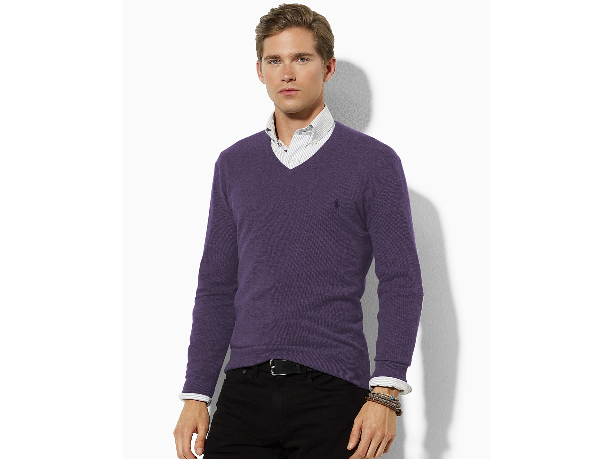 Ash Polo Ralph Lauren Cotton-cashmere V-neck Sweater in Gray for ...