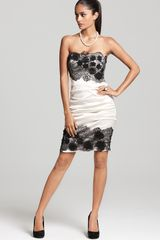 BCBGMAXAZRIA Natalya Strapless Lace Trim Dress - Lyst