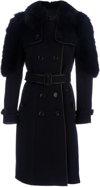 Burberry Prorsum Fox Fur Detail Trenchcoat in Blue - Lyst
