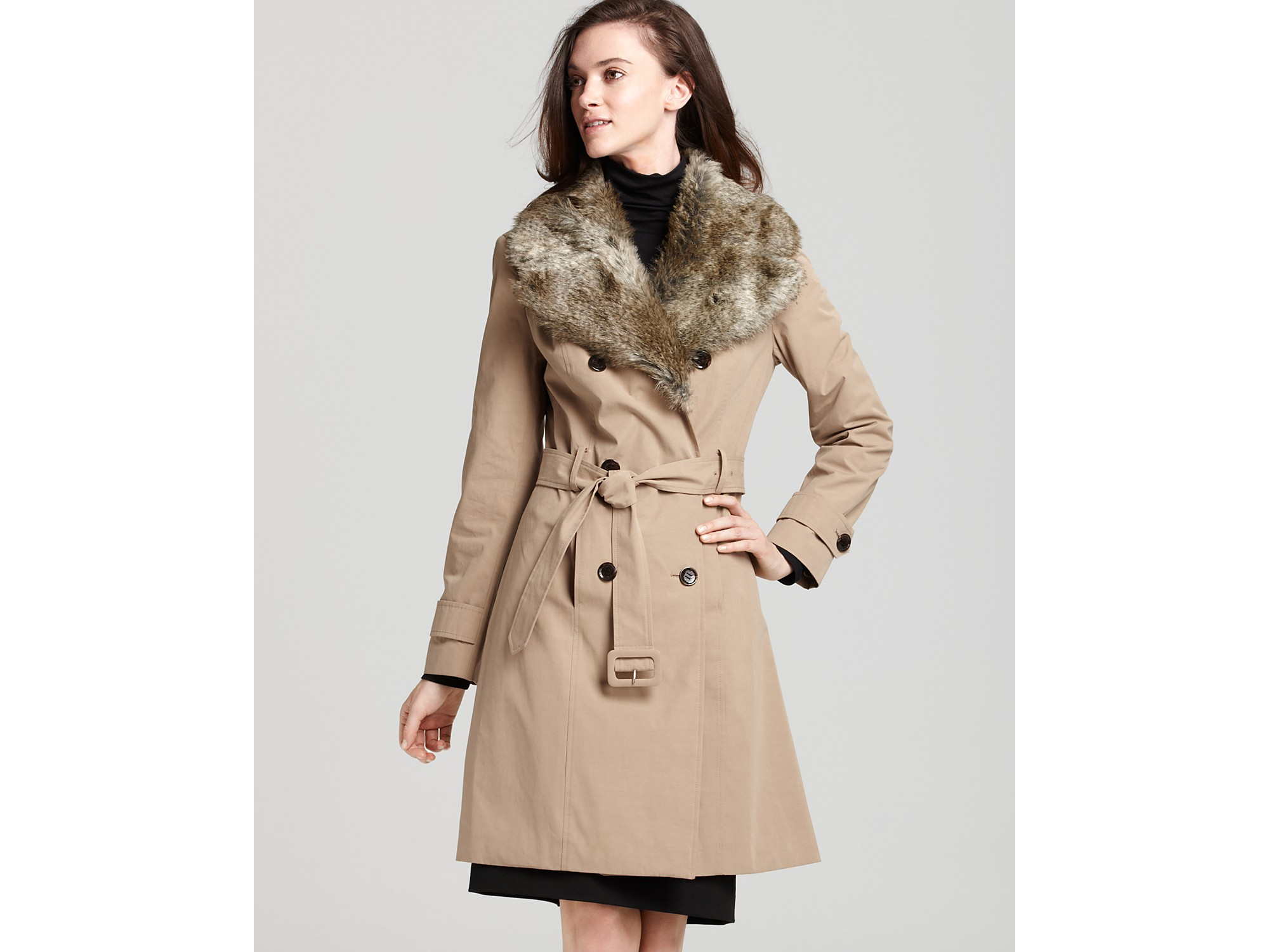Calvin Klein Faux Fur Collar Trench Coat In Natural Lyst